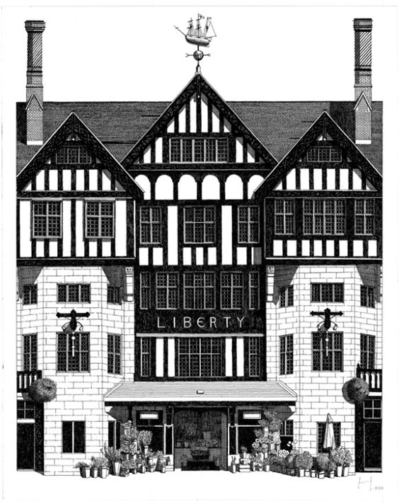 Liberty London- This handsome half-timbered building dates from 1925 and its fine wood-floored and panelled interior is part of the shopping experience.  Lovely gifts and floral printed-fabrics.