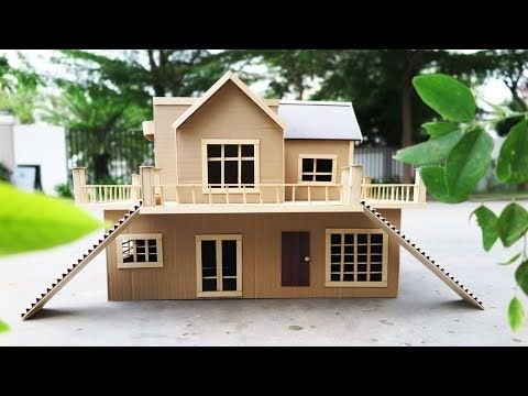 Building Cardboard Villa House Diy At Home Dream House Popsicle Stick House Youtube Popsicle Stick Houses Cardboard House Miniature Houses