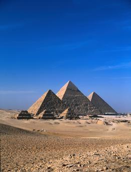 Giza (Egypt), 4th dynasty.  Mykerinos pyramid (c. 2500 BC.), left, Khafra pyramid (c. 2520–2494 BC.), middle, Khufu pyramid (c. 2551–2528 BC.), right.