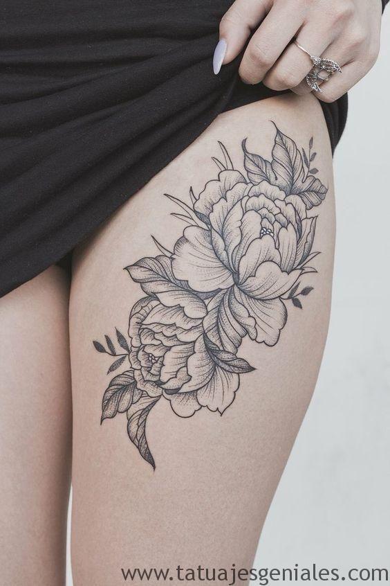 60 Especiales Tatuajes En La Pierna Y En El Muslo Tatuajes Florales En El Muslo Tatuaje De Peonias Disenos De Tatuaje Para Muslos