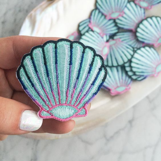 Seashell Patch - Iron On, Embroidered Applique – Mermaid Shell - Aqua Blue & Pastel