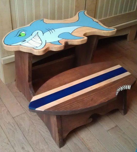Shark step stool- Custom Personalized Handmade 2 Step by dragonflydesignsbykb, $75.00