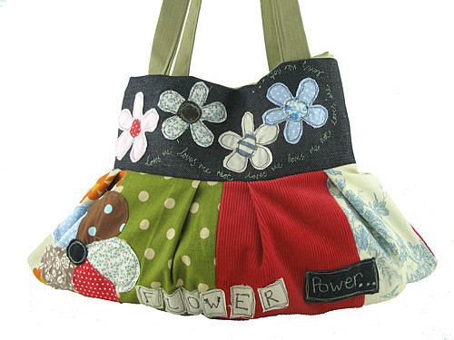love the patchwork flowers on this bag