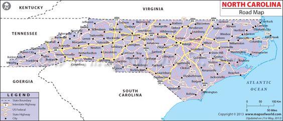North Carolina Road Map North Carolina Pinterest North - Road map of south carolina