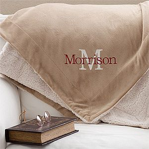 OMG I NEED this blanket! It looks so warm and cozy and it's perfect for the fall weather! You can personalize it with any name and initial and they'll do it in any thread color too! It's on sale now at PMall - I'm totally getting this!