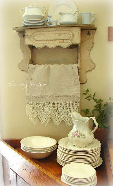 The Country Farm Home: DIY:: Creating a Farmhouse Corner !...... thinking my old paper towel rack I made in elementary school could be transformed.