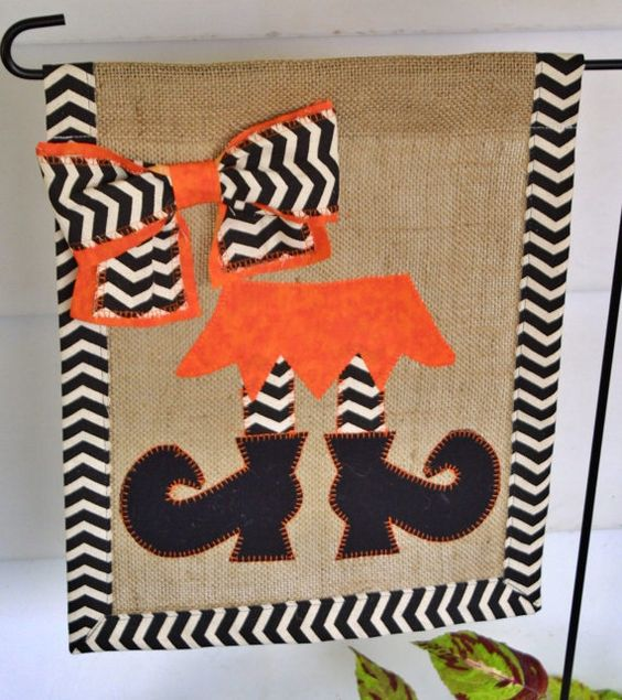 Witch Burlap Garden Flag Applique Garden by SmallTownHatsandMore, $24.00
