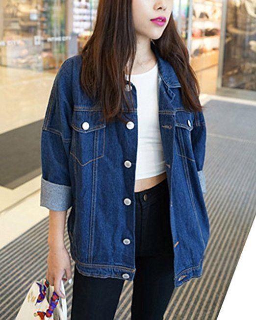 Damen Oversize Jeansjacke Übergangsjacke Lange Denim Jacke