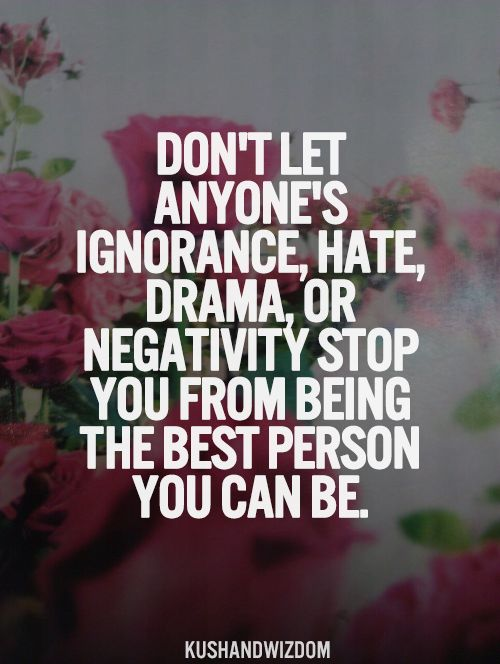 Don't Let Anyone's Ignorance, Hate, Drama, Or Negativity ...