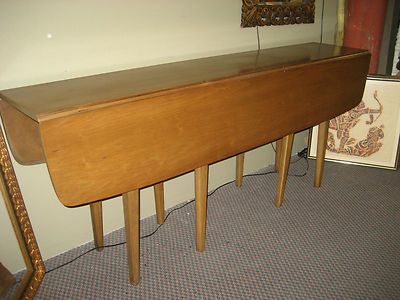 CLASSIC MID CENTURY MODERN DREXEL PROFILE DROP LEAF LARGE DINING TABLE