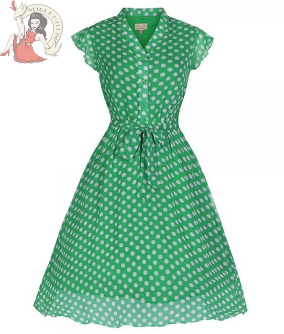 LINDY BOP 50's KODY polka dot TEA DRESS GREEN & WHITE #LindyBop #TeaDress #Casual