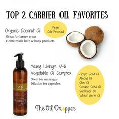 Favorite carrier oils and their uses. I love to use organic coconut oil and Young Living's V-6 oil. V-6 is very versatile (combo of 6 vegetable based oils).