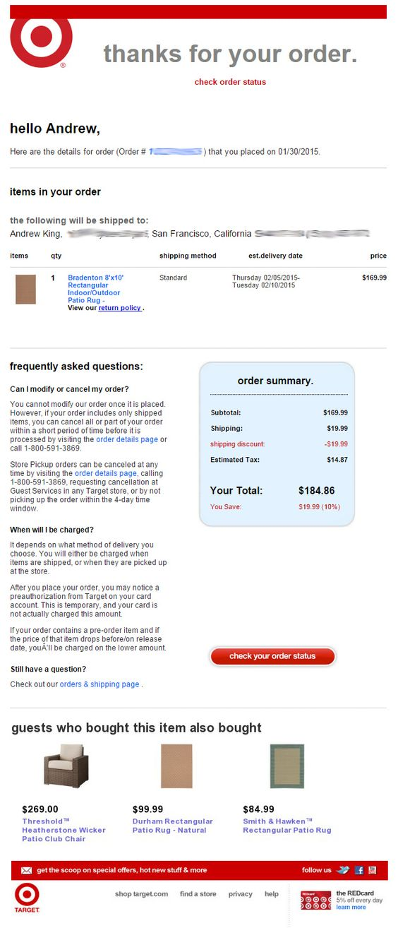 Order confirmation from Target