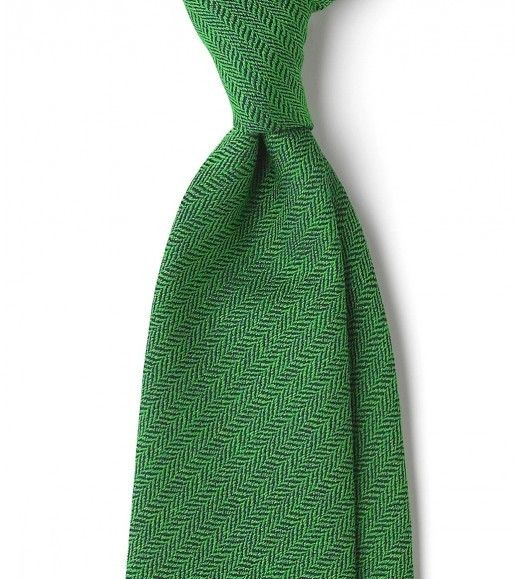 Untipped silk and wool herringbone 8cm tie in green from Drake's of London. £115.00
