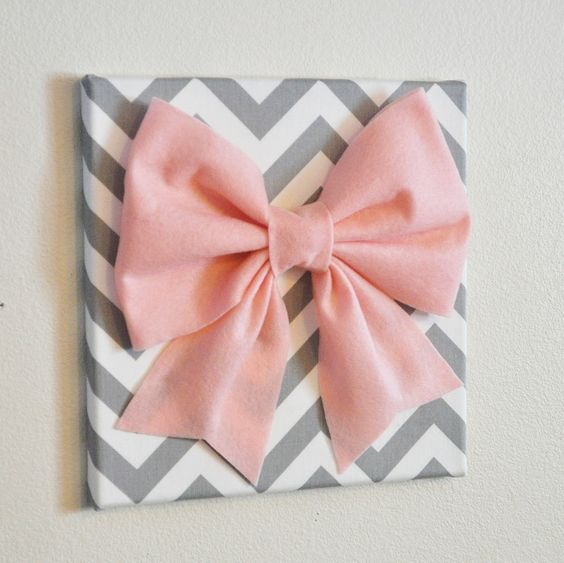 "Large Light Pink Bow on Gray and White Chevron 12 x12"" Canvas Wall Art- Baby Nursery Wall Decor- Zig Zag. $34.00, via Etsy."