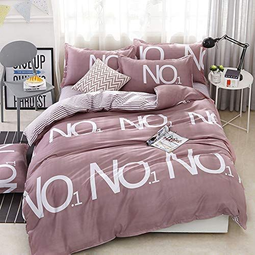 Papa Mima Letters Brown Simple Brief Polyester Microfiber Duvet Cover Set Bedsheet Pillowcases Bedding Set 4pc Full Si Duvet Cover Sets Bed Sheets Duvet Covers