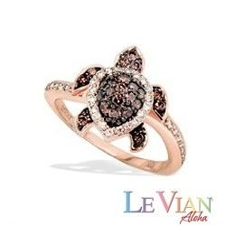 Rose Gold Le Vian Aloha Collection Turtle Ring with White and Chocolate Diamonds® - New From Na Hoku - Shop