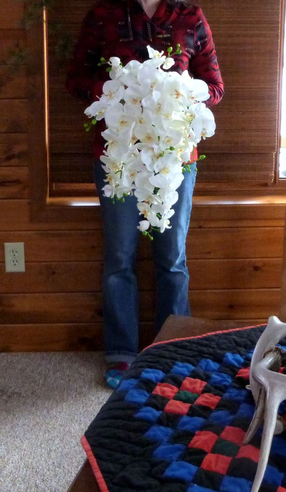 Cascading White Orchid Bouquet & by ChurchMouseCreations on Etsy