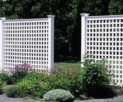 6 Ft Lattice Fence   The 6u0027 Lattice Hollow Vinyl Fence Forms A Handsome,  Inviting Semi Private Entranceway. On Top Are New England Post Caps.