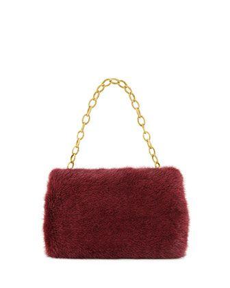 Small Framed Mink Fur Clutch Bag, Bordeaux by Nancy Gonzalez at Bergdorf Goodman.