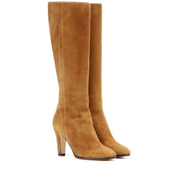 Jimmy Choo Martine Suede Knee-High Boots ($530) ❤ liked on Polyvore featuring shoes, boots, brown, suede knee high boots, jimmy choo, brown knee boots, brown boots and suede boots
