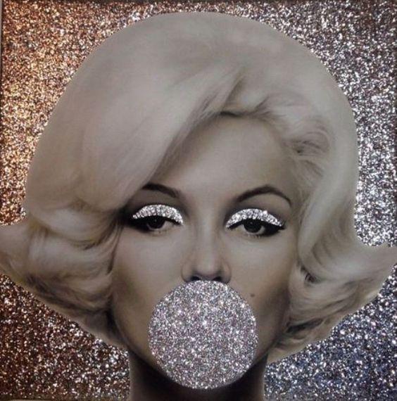 Marilyn Monroe Black Glitter Canvas Picture Shabby Chic frame.