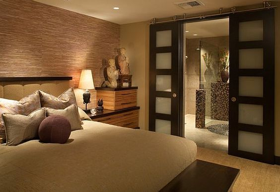 asian decorating ideas   Asian style bedroom inspiration with built-in tansu-like nightstands ...