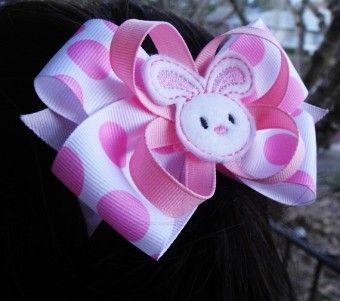 Pink Bunny Hair Clip - Boutique 2015 easter Bow - Bunny Bow