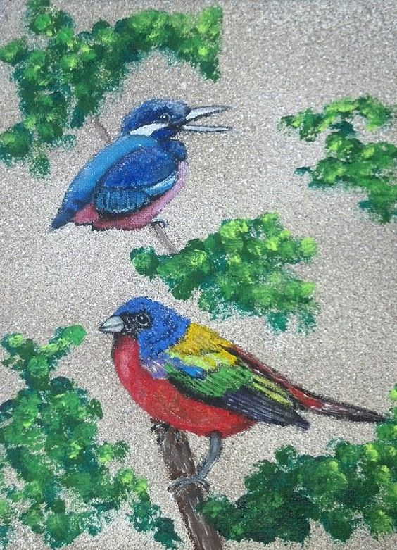 Two Colorful Birds 8X10 Acrylic   SOLD   201469