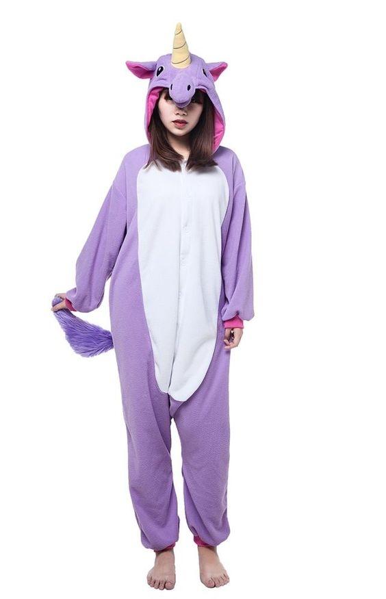 Unisex Adult Pajamas Cartoon Purple Unicorn Cosplay Costume Onesie Sleepwear