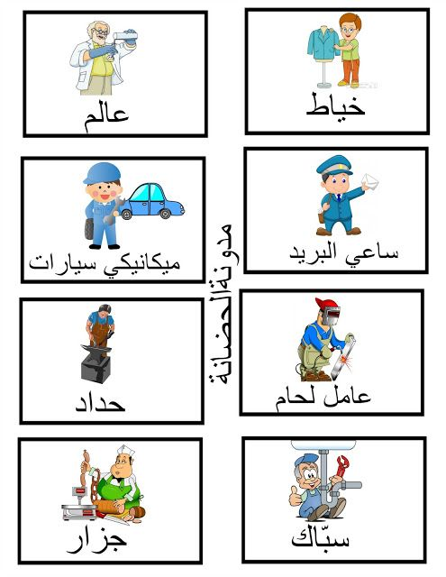 صور عن المهن Learning Arabic Arabic Alphabet For Kids Arabic Kids
