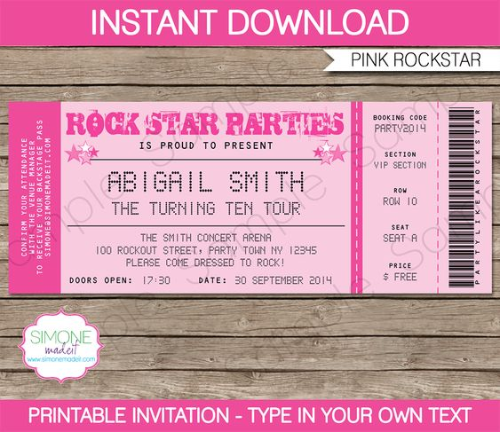 Rockstar Birthday Party Ticket Invitations Template – Pink