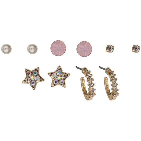 Miss Selfridge Sparkle Earring Pack (£3.50) ❤ liked on Polyvore featuring jewelry, earrings, gold, sparkle jewelry, sparkly earrings, gold tone jewelry, gold tone earrings and miss selfridge