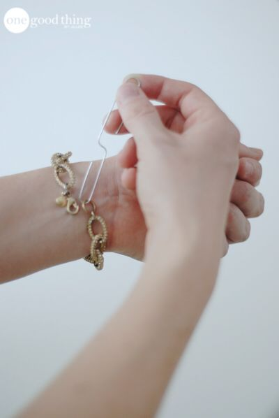 Use a paper clip to help put on a bracelet when you don't have anyone to help you! So smart!