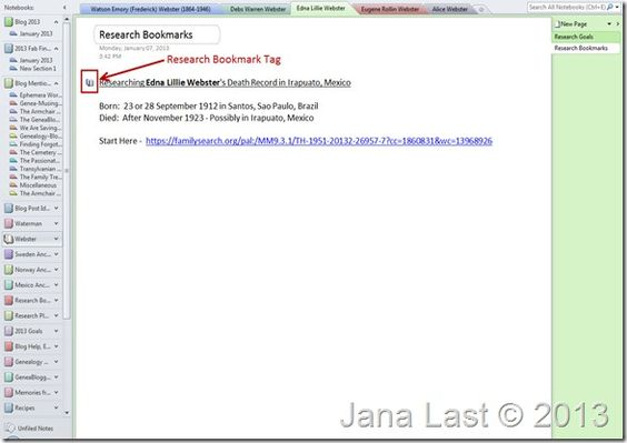 OneNote for Genealogy ~ Research Bookmarks Family Reunion - research plan