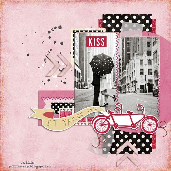 #papercraft #scrapbook #layout. Kiss by Jullis at @studio_calico