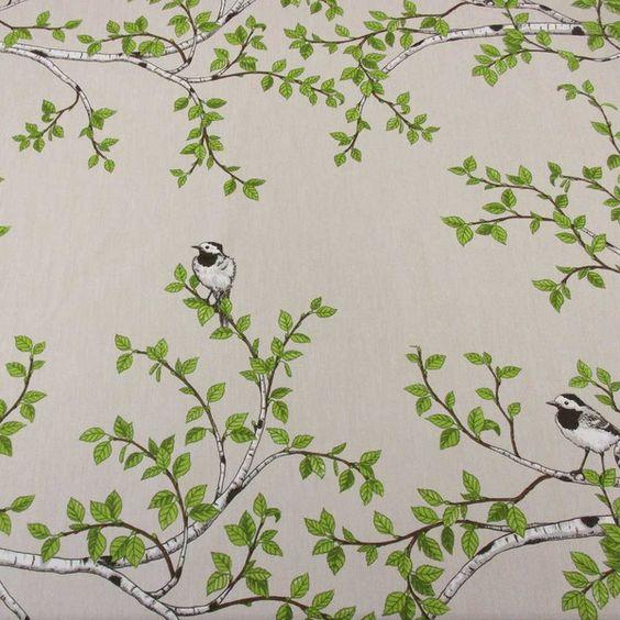 Weiteres - Stoff Baumwolle Vogel Birkenzweige natur Schweden - ein Designerstück von werthers-stoffe bei DaWanda
