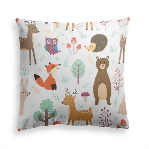 Forest Friends Throw Pillow Throw Pillows Animal Pillows Decorative Throw Pillows