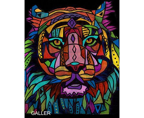Original tiger painting heather galler abstract animal for Abstract animal paintings