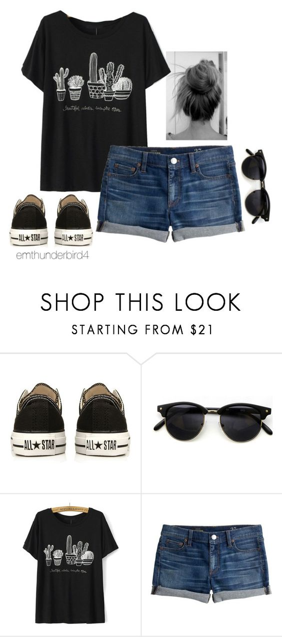 """""""#62: Summer Casual"""" by emthunderbird4 ❤ liked on Polyvore featuring Converse and J.Crew"""