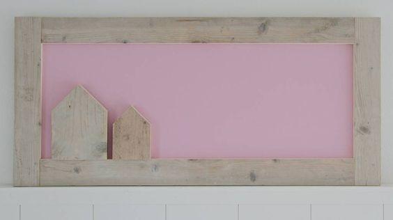 Label123 Prikbord steigerhout 60x130cm, roze