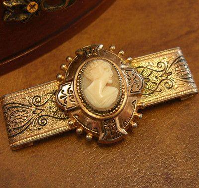 Antique Victorian Style Cameo Enamel Gold Filigree Bar Pin Brooch | eBay