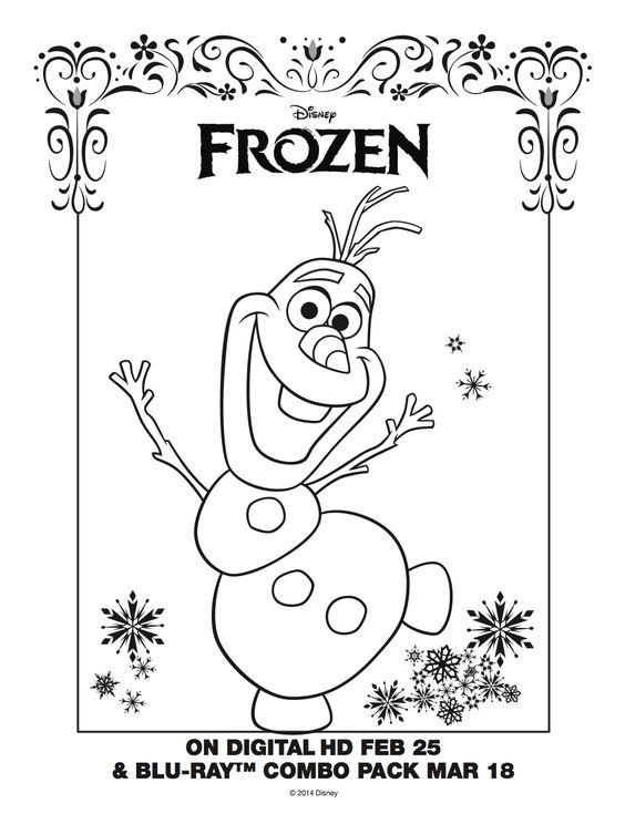 Olaf Coloring Sheet Frozen Pinterest Disney
