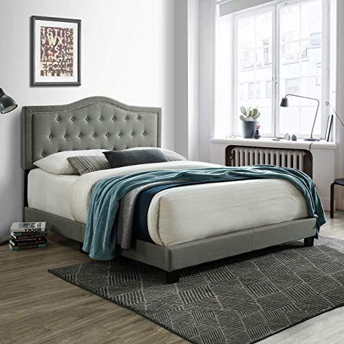 New Queen Bed Frame Upholstered Platform Bed Tufted Headboard