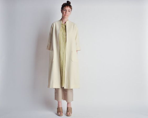 #vintage wagner short sleeve kimono style coat / cream by persephonevintage
