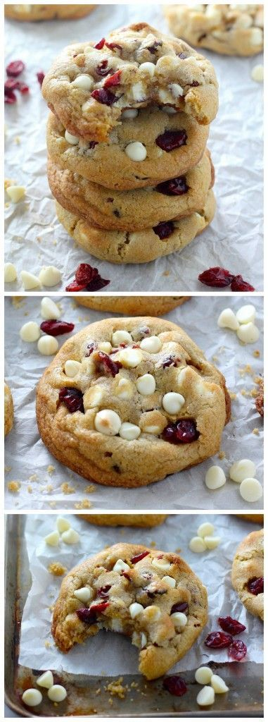 AMAZING Cookies right here! Thick and Chewy White Chocolate Cranberry Cookies - a must for the holidays!!!
