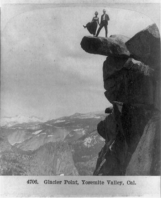 A couple kicks up their heels at Glacier Point in Yosemite National Park, ca. 1902. Photo by George W. Griffith, Philadelphia. Library of Congress Prints and Photographs Division.