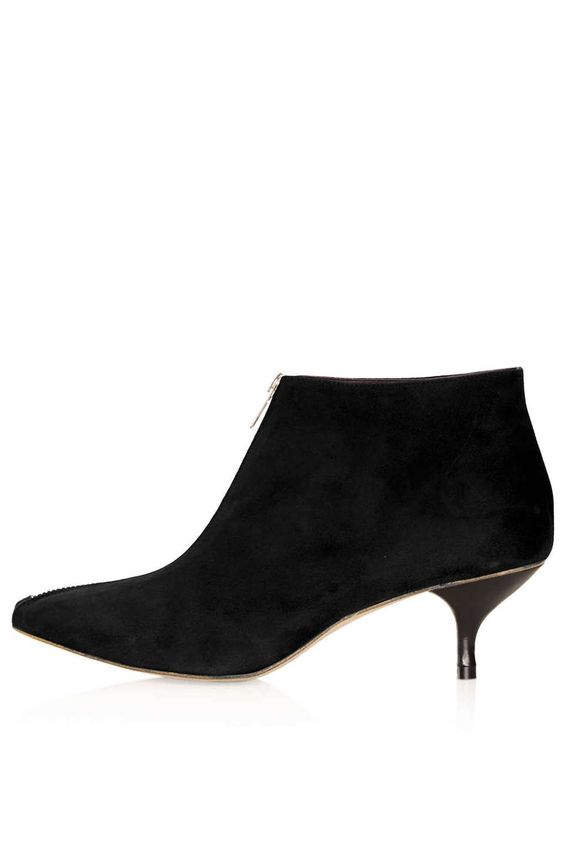 Kitten Heel Ankle Boots Black