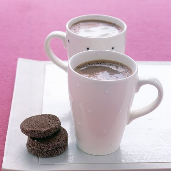 Steamy Hot Chocolate Recipe Beverages with unsweetened cocoa powder, milk, semi-sweet chocolate morsels, vanilla extract, salt, whipped cream