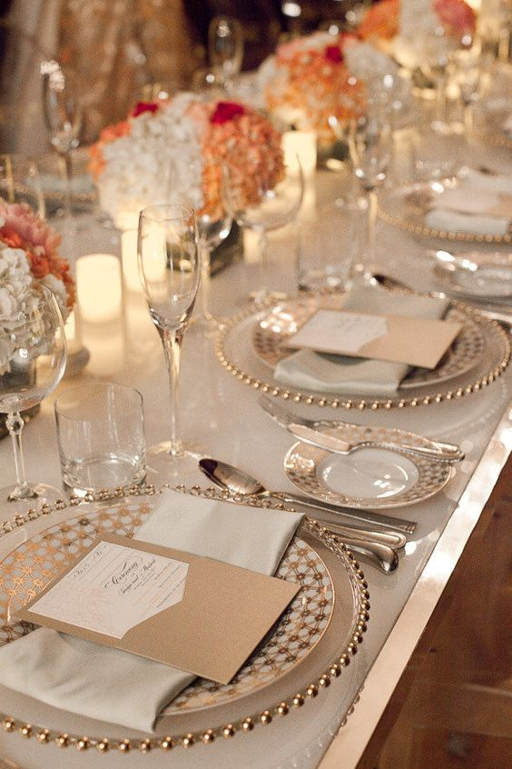 gold and whites: Table Settings, Coordination Stationery, Design Coordination, Place Settings, Color Centerpieces, Tablescape